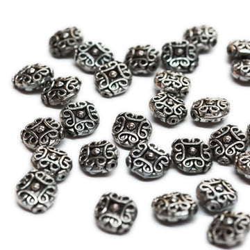 Scroll Work Metal Beads silver