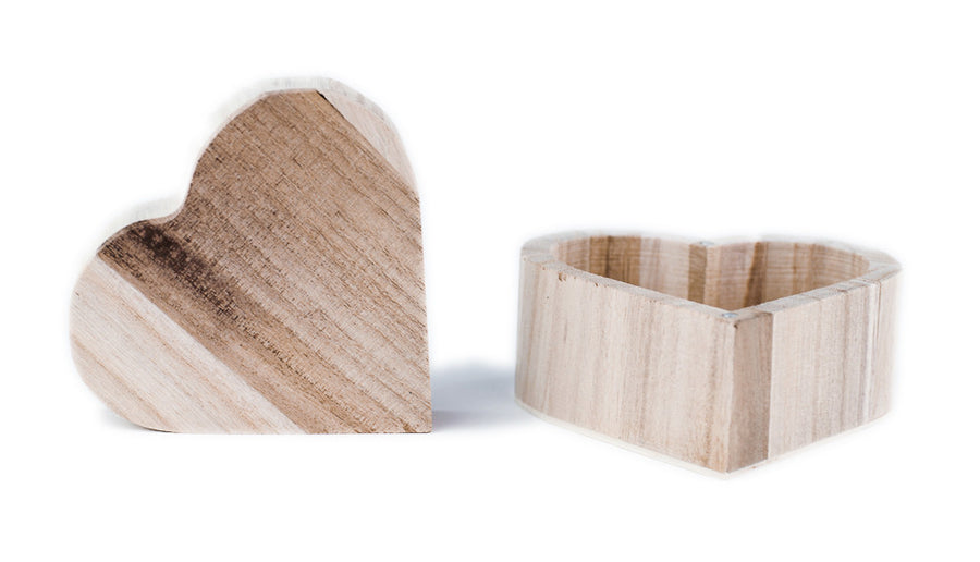 Wooden Heart Box - Magnetic Lids
