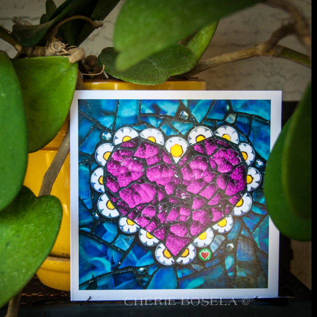 Glitter Pink Heart - Blank Greeting Card