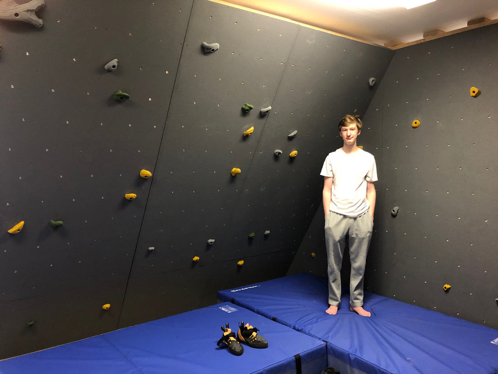 Teen Builds Home Climbing Wall during Pandemic