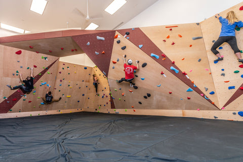 Bouldering wall with rock climbers climbing on it