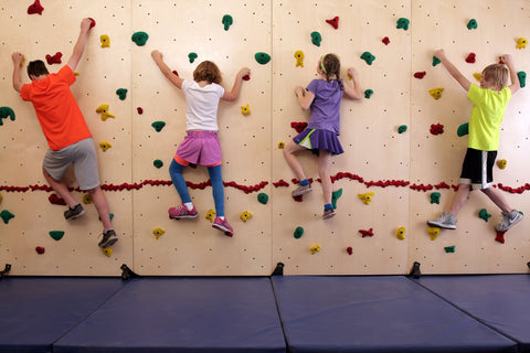 Children rock climbing on a Baltic Birch Climbing Wall by Everlast Climbing