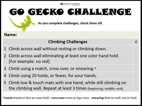 Go Gecko Challenge: List of new rock climbing challenges to keep the climbing wall fresh and interesting
