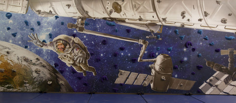 Space theme mural climbing wall by Everlast Climbing