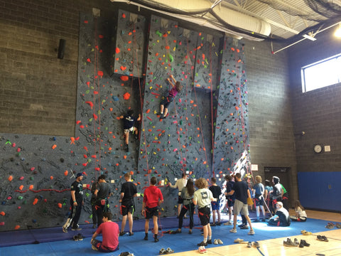 Tahoma High School students rock climbing and showing responsibility