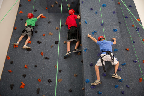 Boys climbing on a top rope climbing wall by Everlast Climbing