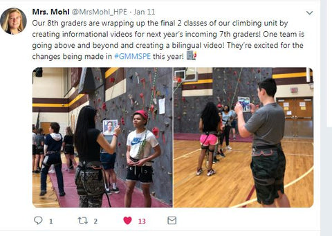Example of a Twitter post about rock climbing and Everlast Climbing