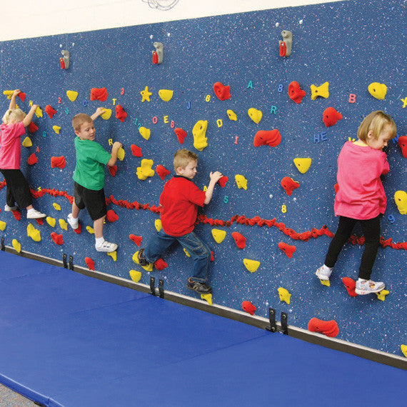 WeeKidz Traverse Wall with Four Children Climbing