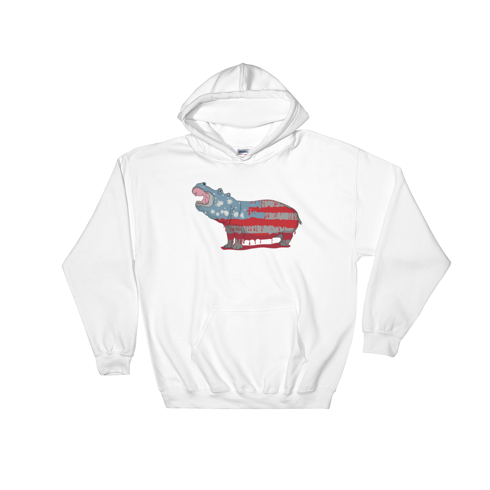 White Hippo Americana- Hooded Sweatshirt
