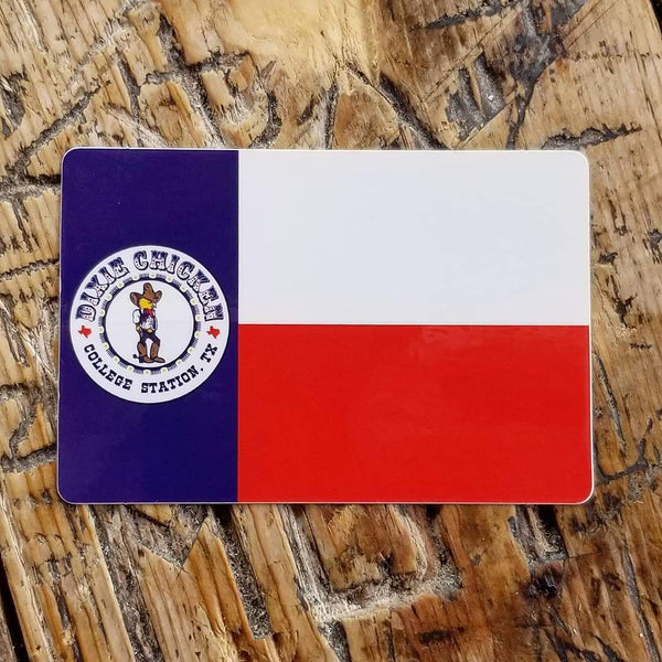 Dixie Chicken Texas Flag Sticker