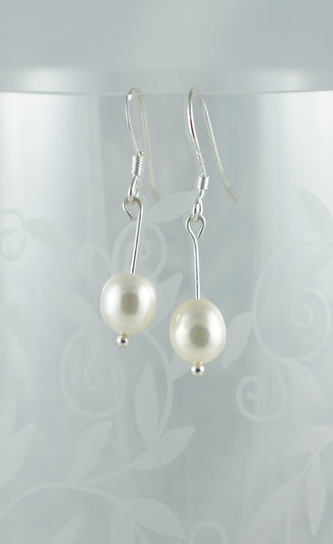 White Pearl Earrings - DereDere Jewellery