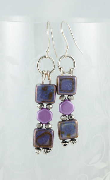 Purple Aztec Earrings - DereDere Jewellery