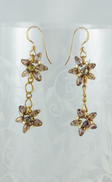 Golden Stars Earrings - DereDere Jewellery