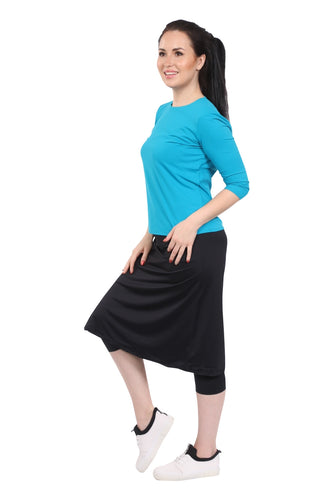 Athletic skirt with leggings - BLACK