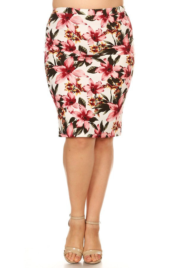 Bella Cream Burgundy Floral Skirt