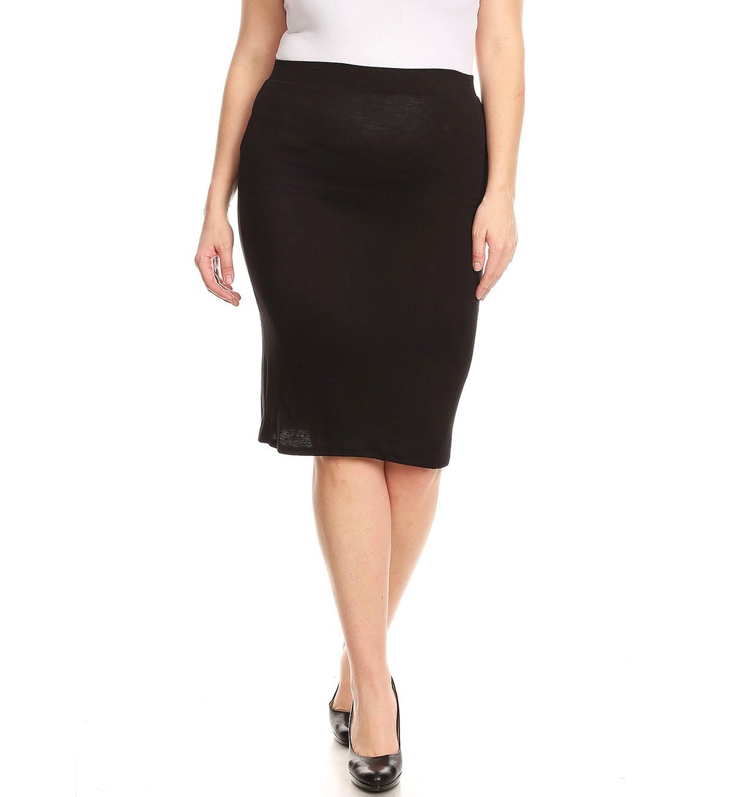 Plus Black Stretch Skirt