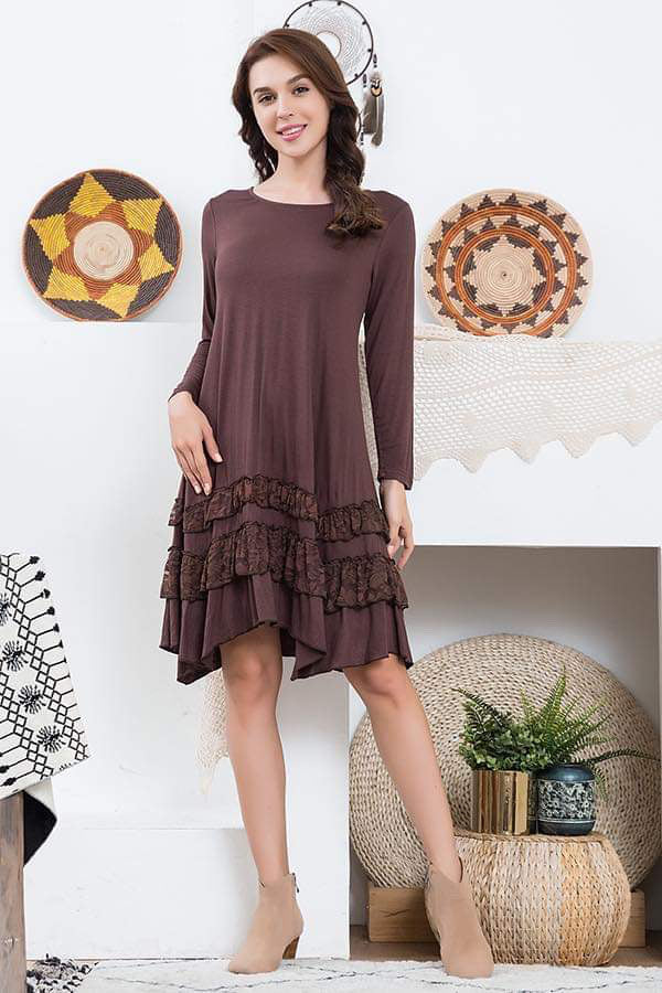 Sylvia Lace Ruffle Dress