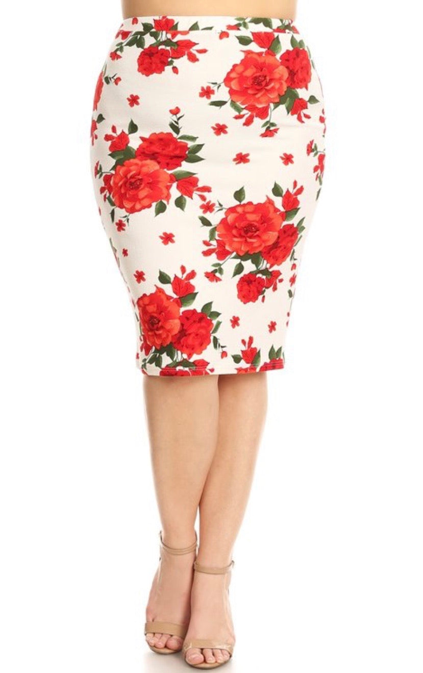 Bella Red Floral pencil skirt