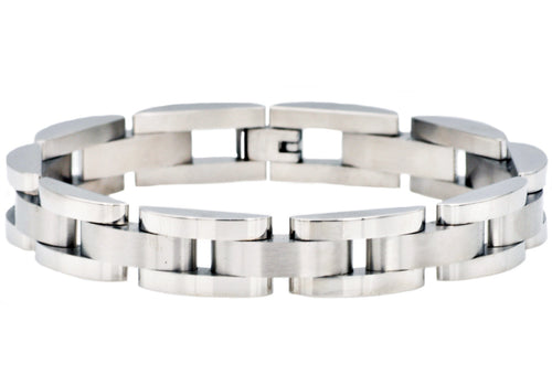 Mens Curved Link Stainless Steel Bracelet - Blackjack Jewelry
