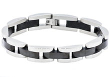 Load image into Gallery viewer, Mens Black Plated Stainless Steel Bracelet - Blackjack Jewelry
