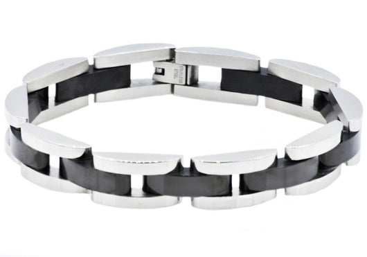 Mens Black Plated Stainless Steel Bracelet