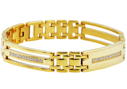 Mens Gold Plated Stainless Steel Link Bracelet With Cubic Zirconia