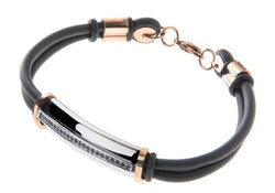 Mens Rubber And Stainless Steel Bracelet With Black Cubic Zirconia