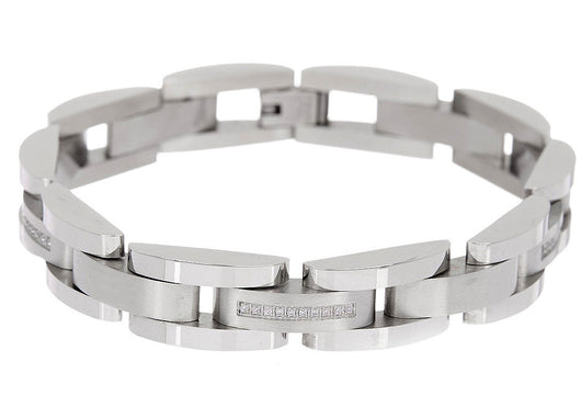 Mens Stainless Steel Bracelet With Cubic Zirconia