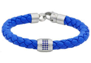 Mens Blue Leather Stainless Steel Bracelet With Blue Cubic Zirconia - Blackjack Jewelry