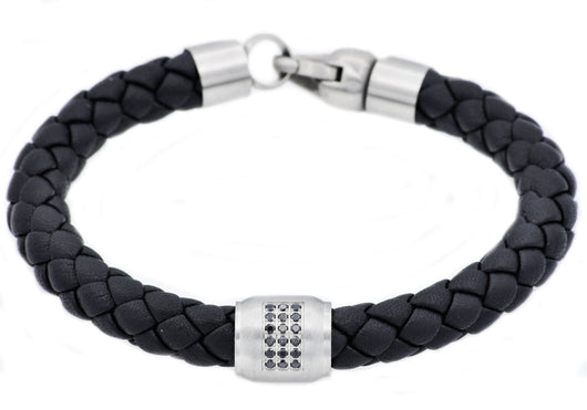 Mens Black Leather Stainless Steel Bracelet With Black Cubic Zirconia