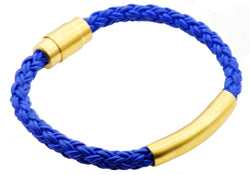 Mens Gold Plated Stainless Steel Blue Leather Bracelet