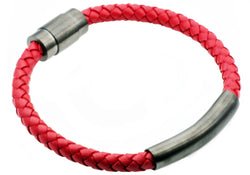 Mens Red Leather Gunmetal Plated Stainless Steel Bracelet