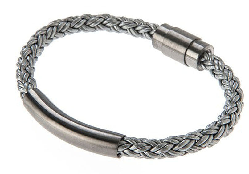 Mens Gray Leather Gunmetal Plated Stainless Steel Bracelet - Blackjack Jewelry