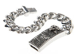 Mens Stainless Steel Skull Bracelet With Hematite Crystals - Blackjack Jewelry