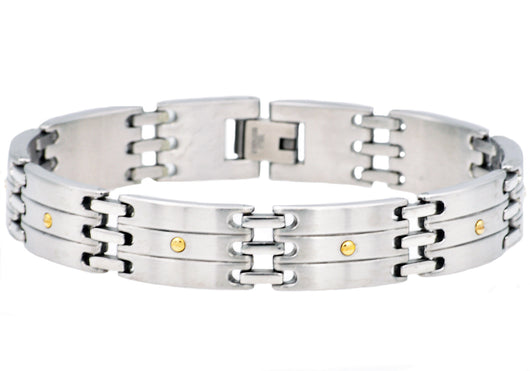 Mens Stainless Steel Bracelet With Gold Screws - Blackjack Jewelry