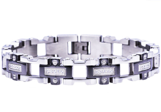 Mens Black Plated Stainless Steel Bracelet With Cubic Zirconia