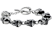 Load image into Gallery viewer, Mens Stainless Steel Skull Bracelet - Blackjack Jewelry
