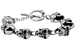 Mens Stainless Steel Skull Bracelet - Blackjack Jewelry