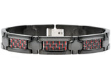 Mens Red Carbon Fiber And Black Plated Stainless Steel Bracelet