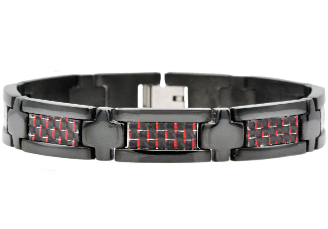Mens Black Plated Stainless Steel Bracelet  With Black And Red Carbon Fiber - Blackjack Jewelry