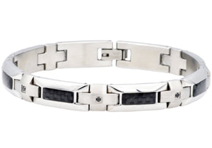 Mens Stainless Steel Bracelet With Black Cubic Zirconia And Black Carbon Fiber - Blackjack Jewelry
