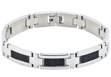 Mens Carbon Fiber And Stainless Steel Bracelet