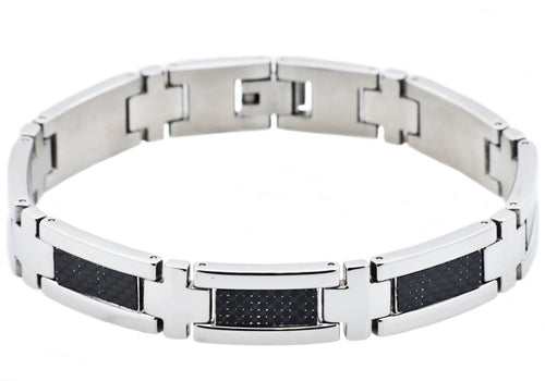 Mens Stainless Steel Bracelet With Black Carbon Fiber - Blackjack Jewelry