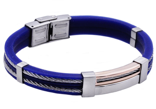 Mens Rose Plated Stainless Steel Blue Rubber Bracelet