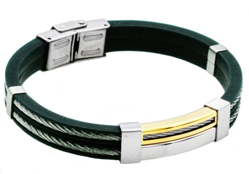 Mens Green Silicone Gold Plated Stainless Steel Wire Bangle Bracelet - Blackjack Jewelry