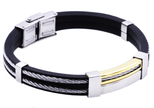 Mens Black Silicone Gold Plated Stainless Steel Wire Bangle Bracelet - Blackjack Jewelry