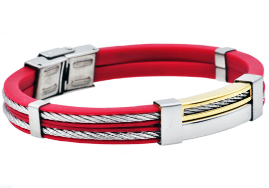 Mens Gold Plated Stainless Steel Red Rubber Bracelet