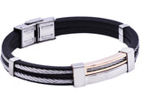 Mens Rose Plated Stainless Steel Black Rubber Bracelet - Blackjack Jewelry