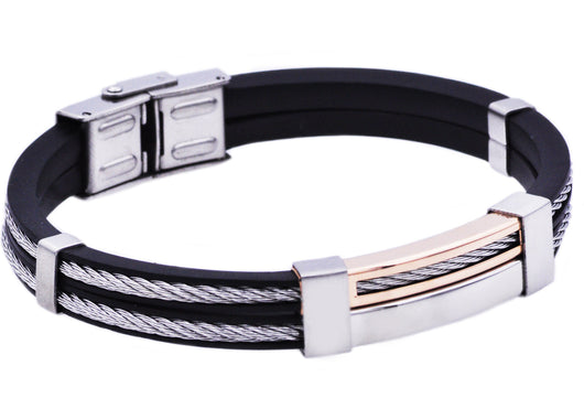 Mens Rose Plated Stainless Steel Black Rubber Bracelet