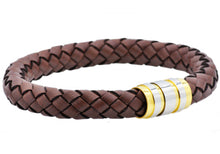 Load image into Gallery viewer, Mens Brown Leather Gold Plated Stainless Steel Bracelet - Blackjack Jewelry